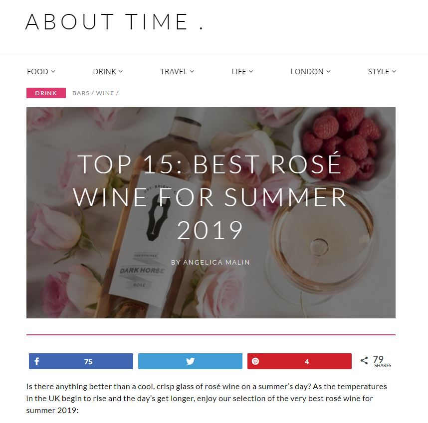 About TIme Magazine includes Pure Rosé in the Top Summer Wines 2019