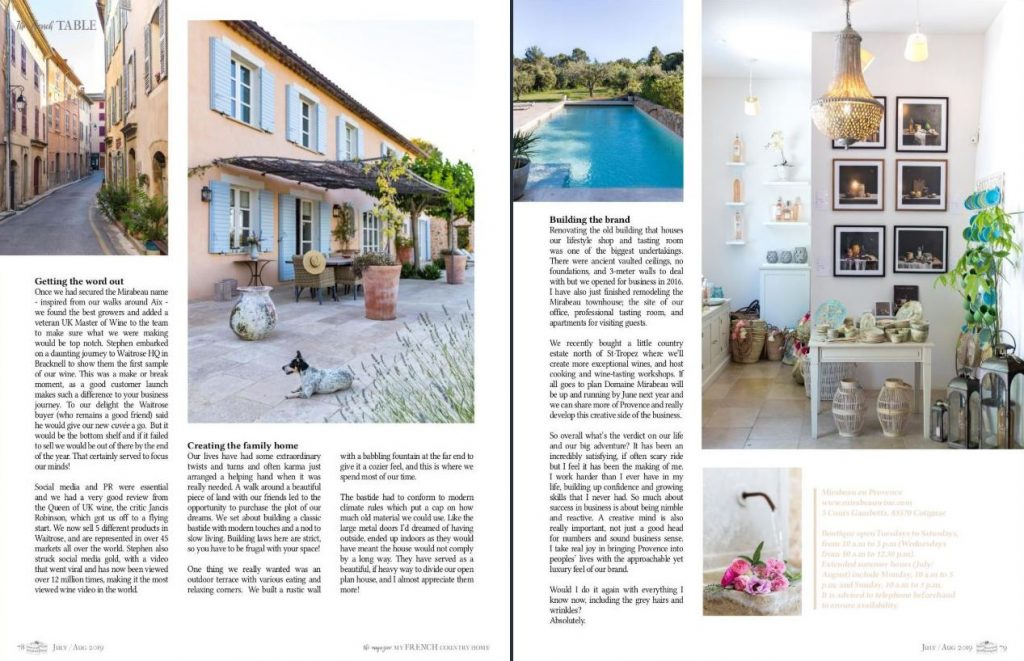 My French Country Home magazine features Stephen and Jeany Cronk, and their journey into rosé wine