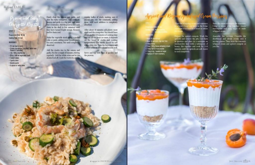 Recipes with Mirabeau Provence Rosé wines featured in My French Country Home magazine