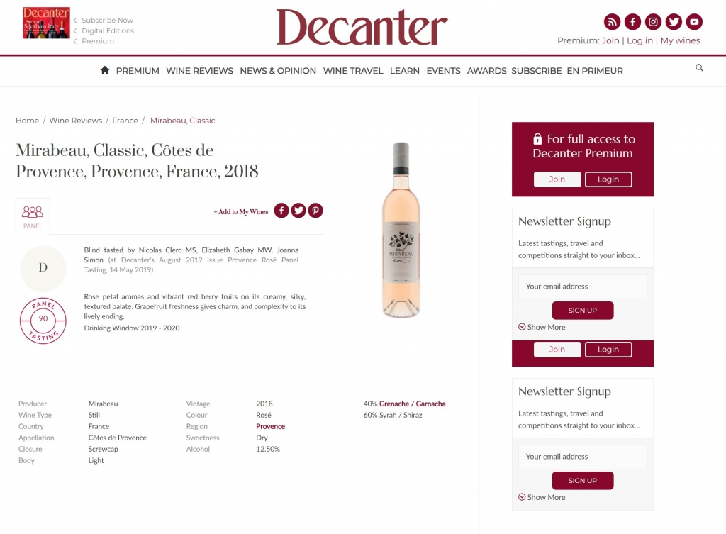 Decanter scores Mirabeau Classic Rosé 90 points