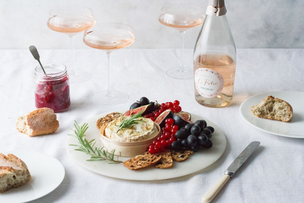 Rosemary & Garlic Baked Camembert with Mirabeau rosé