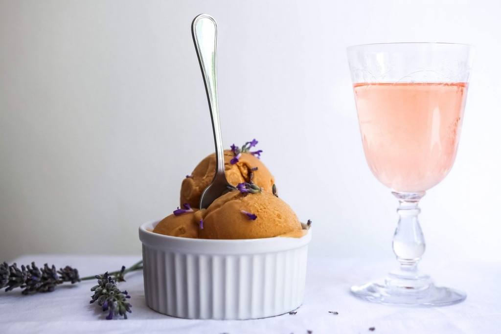 Apricot and lavender ice cream