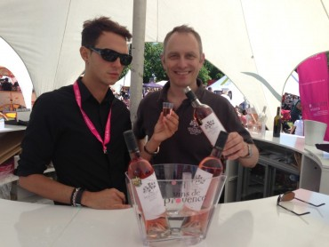 Stephen serves up a glass of Mirabeau rose at Wines of Provence tent