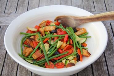 Fresh Vegetable, Olive and Basil Salad