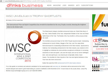 IWSC unveils 2015 trophy shortlists
