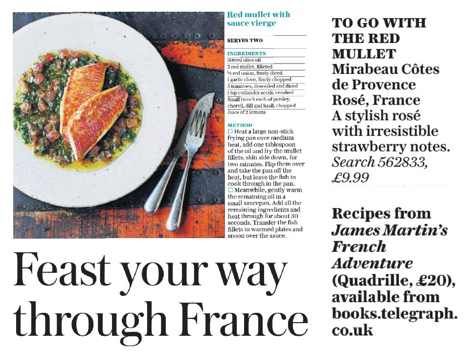 Daily telegraph james martins red mullet with mirabeau ros mirabeau in the daily telegraph newspaper mirabeau classic was paired with the yummy red mullet dish our flagship provence ros is available through waitrose forumfinder Gallery