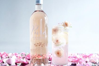 Pure Rosé Cocktail Recipe with rose ice cubes