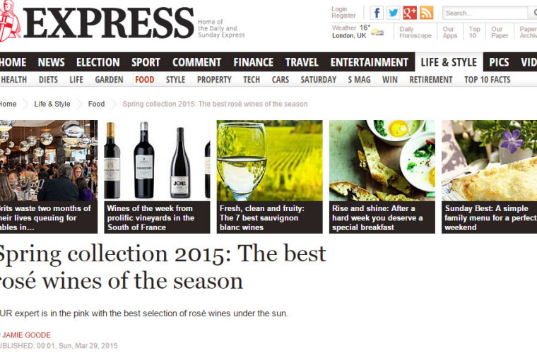Sunday Express best spring rose wines