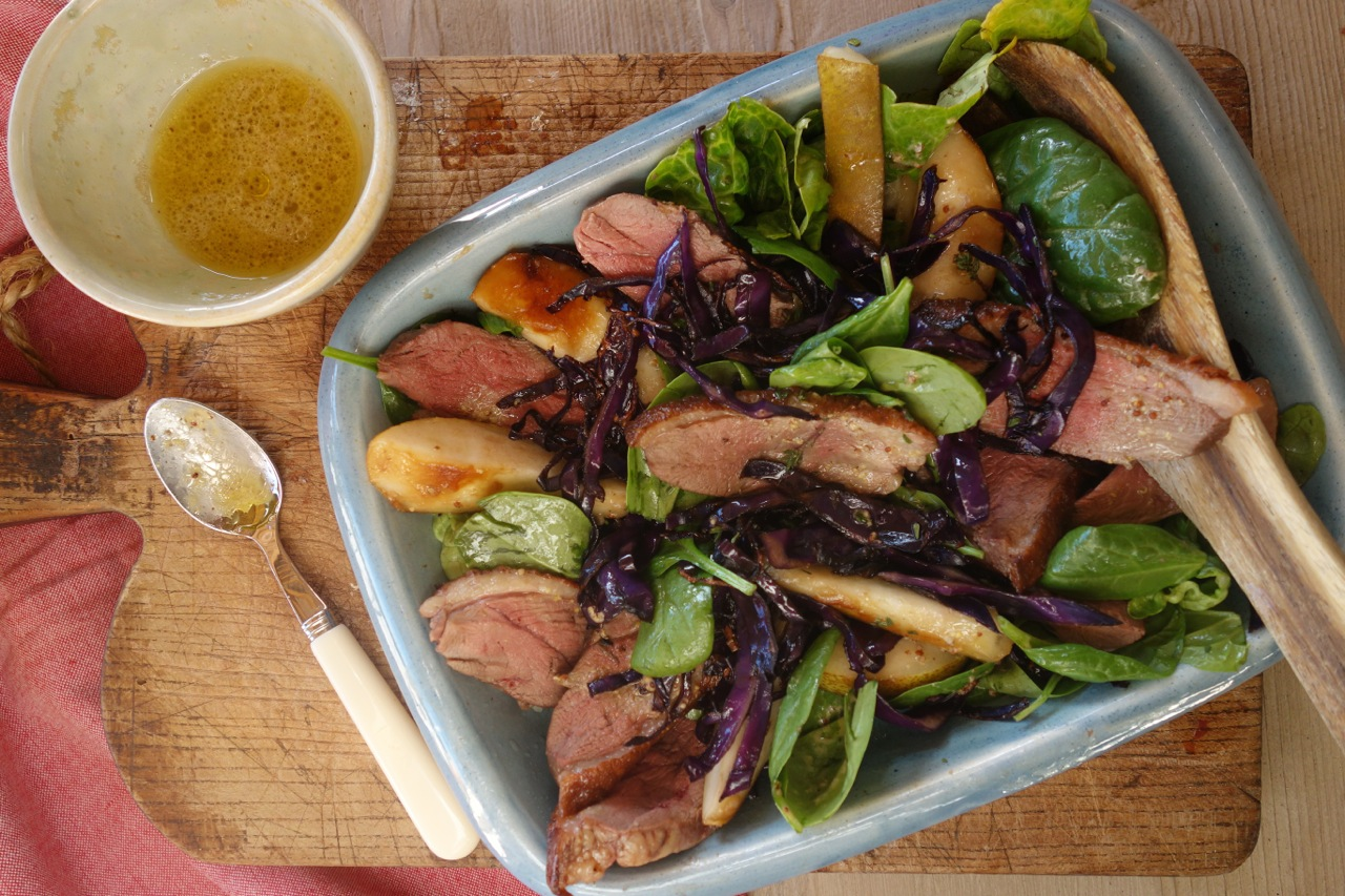 Tasty Duck, Roasted Pear and Spinach Salad Recipe   Mirabeau