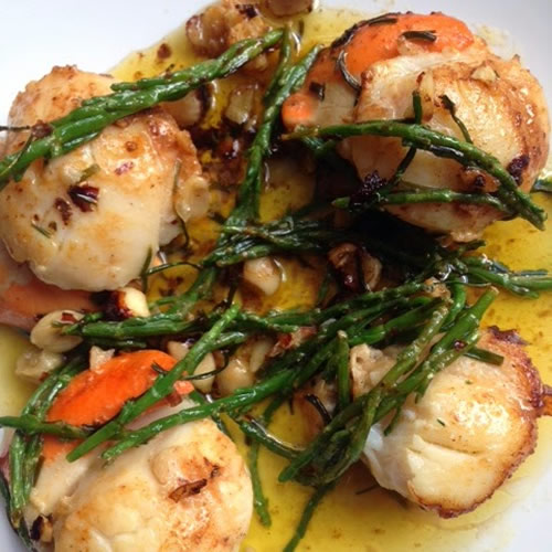 scallops samphire recipe